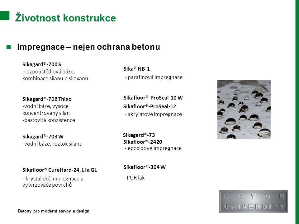Životnost konstrukce Impregnace – nejen ochrana betonu Betony pro moderní stavby a design Sikagard®-700 S -rozpouštědlová báze, kombinace silanu a siloxanu Sikagard®-706 Thixo -vodní báze, vysoce koncentrovaný silan -pastovitá konzistence Sikagard®-703 W -vodní báze, roztok silanu Sika® NB-1 - parafínová impregnace Sikafloor®-ProSeal-10 W Sikafloor®-ProSeal-12 - akrylátové impregnace Sikagard®-73 Sikafloor®-2420 - epoxidové impregnace Sikafloor®-304 W - PUR lak Sikafloor® CureHard-24, LI a GL - krystalické impregnace a vytvrzovače povrchů