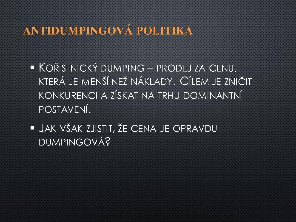 ANTIDUMPINGOVÁ POLITIKA   K OŘISTNICKÝ DUMPING – PRODEJ ZA CENU, KTERÁ JE MENŠÍ NEŽ NÁKLADY.