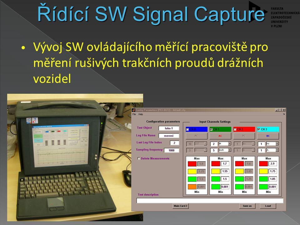Vývoj SW ovládajícího měřící pracoviště pro měření rušivých trakčních proudů drážních vozidel Grafická nadstavba Matlabu Využívá průmyslové PC a měřící karty fy.