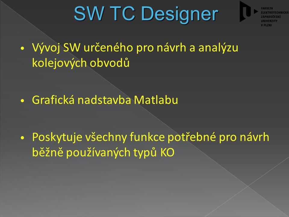 Vývoj SW určeného pro návrh a analýzu kolejových obvodů Grafická nadstavba Matlabu Poskytuje všechny funkce potřebné pro návrh běžně používaných typů