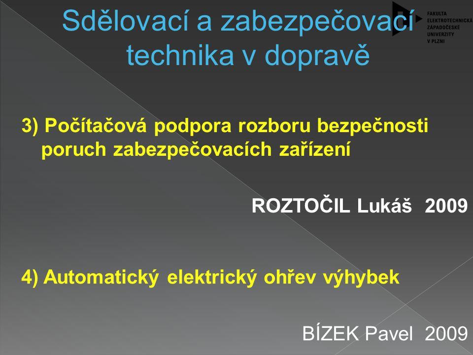 4) Automatický elektrický ohřev výhybek BÍZEK Pavel 2009 Sdělovací a zabezpečovací technika v dopravě 3) Počítačová podpora rozboru bezpečnosti poruch