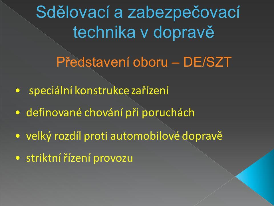 Představení oboru – DE/SZT Sdělovací a zabezpečovací technika v dopravě speciální konstrukce zařízení definované chování při poruchách velký rozdíl proti automobilové dopravě striktní řízení provozu