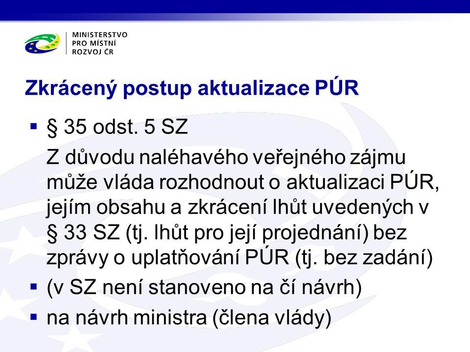 Zkrácený postup aktualizace PÚR  § 35 odst.