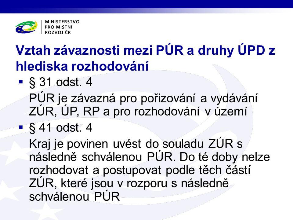 Vztah závaznosti mezi PÚR a druhy ÚPD z hlediska rozhodování  § 31 odst.
