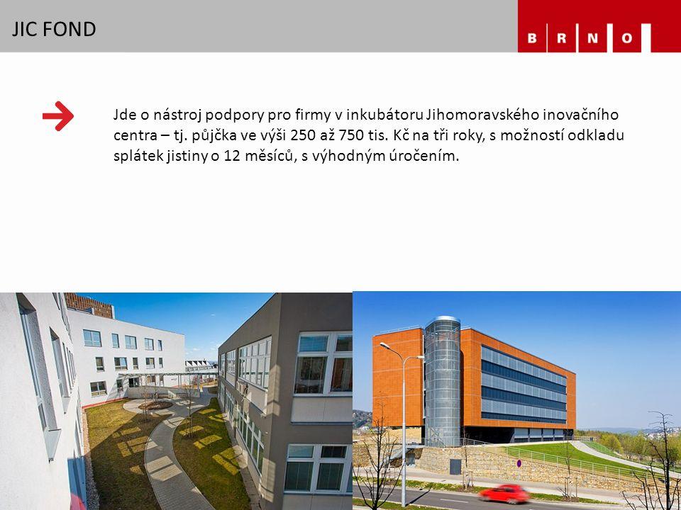 JIC FOND Jde o nástroj podpory pro firmy v inkubátoru Jihomoravského inovačního centra – tj. půjčka ve výši 250 až 750 tis. Kč na tři roky, s možností