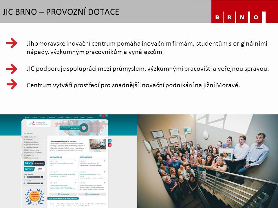 JIC BRNO – PROVOZNÍ DOTACE Jihomoravské inovační centrum pomáhá inovačním firmám, studentům s originálními nápady, výzkumným pracovníkům a vynálezcům.