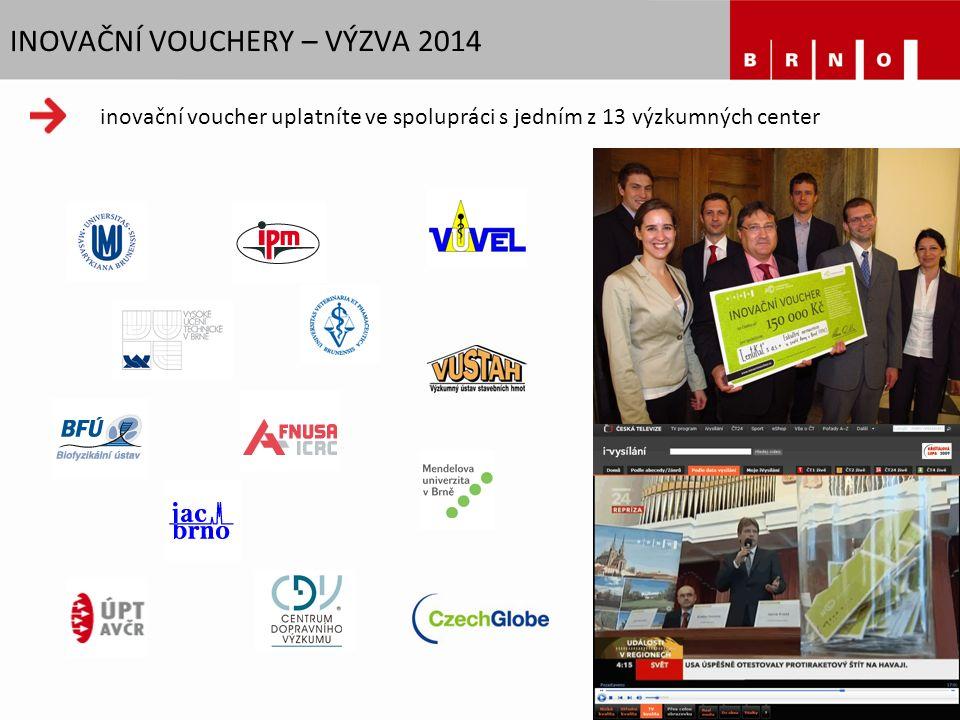 INOVAČNÍ VOUCHERY – VÝZVA 2014 inovační voucher uplatníte ve spolupráci s jedním z 13 výzkumných center