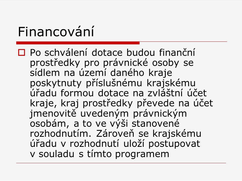 Financování  Po schválení dotace budou finanční prostředky pro právnické osoby se sídlem na území daného kraje poskytnuty příslušnému krajskému úřadu