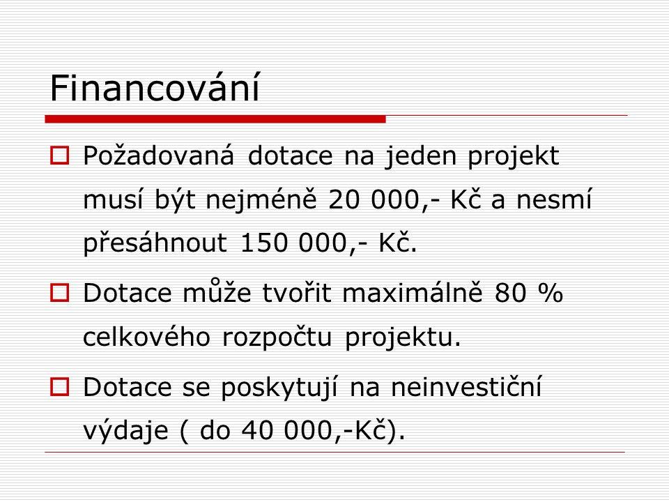 Financování  Požadovaná dotace na jeden projekt musí být nejméně 20 000,- Kč a nesmí přesáhnout 150 000,- Kč.