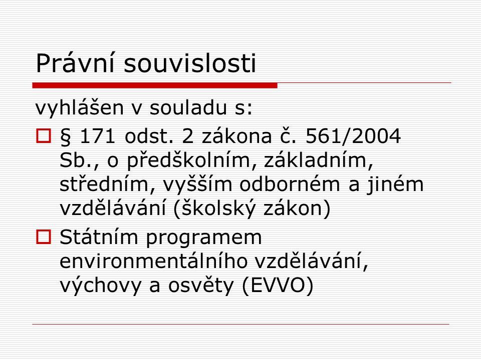 Právní souvislosti vyhlášen v souladu s:  § 171 odst.