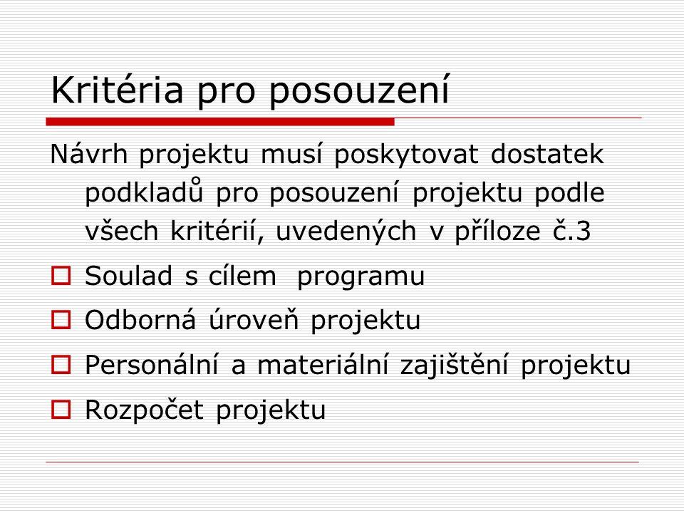 Kritéria pro posouzení Návrh projektu musí poskytovat dostatek podkladů pro posouzení projektu podle všech kritérií, uvedených v příloze č.3  Soulad s cílem programu  Odborná úroveň projektu  Personální a materiální zajištění projektu  Rozpočet projektu