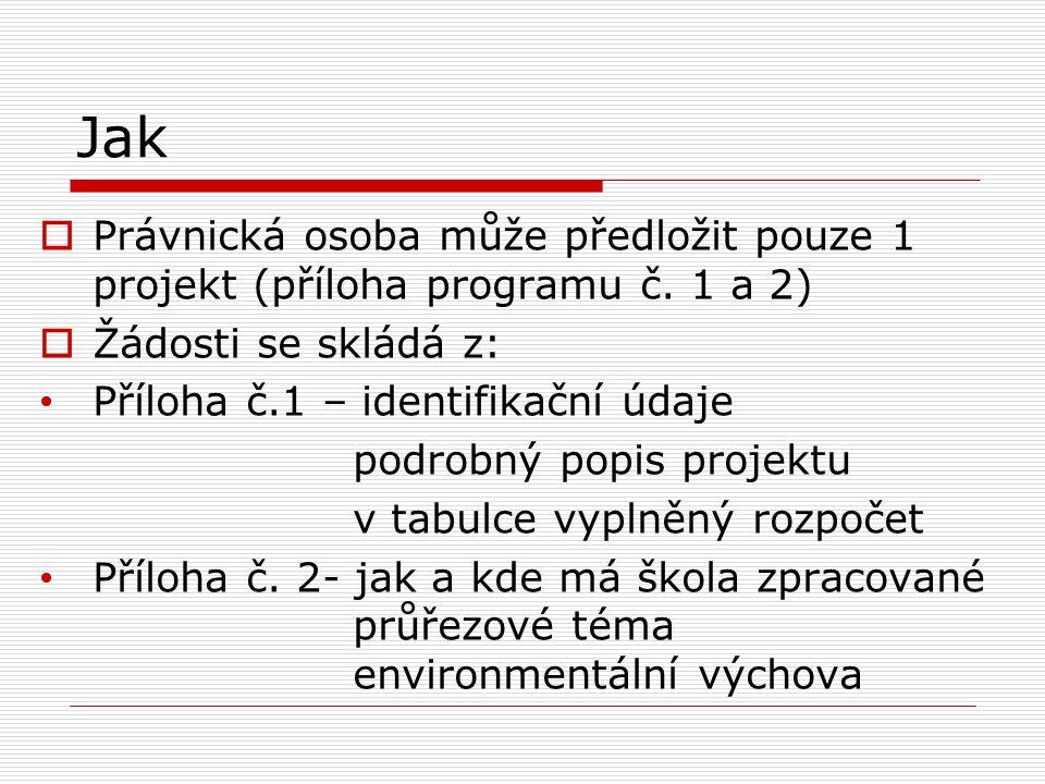 Jak  Právnická osoba může předložit pouze 1 projekt (příloha programu č. 1 a 2)  Žádosti se skládá z: Příloha č.1 – identifikační údaje podrobný pop