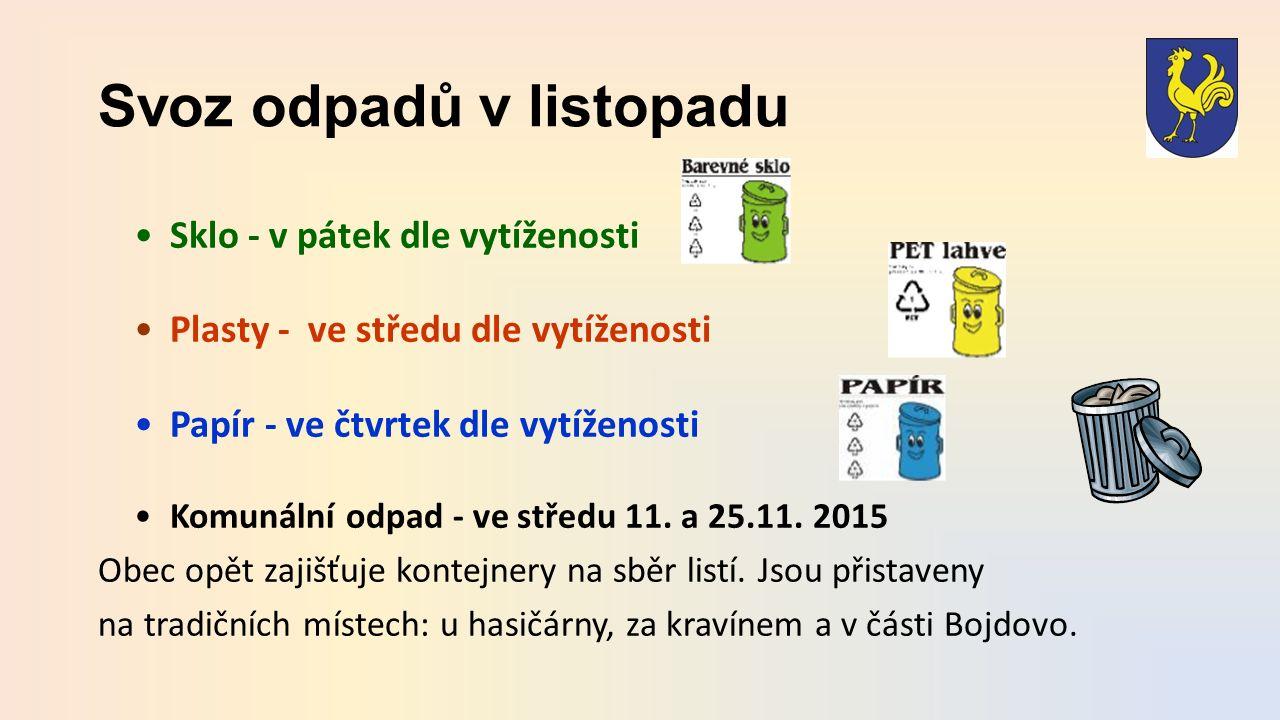 Svoz odpadů v listopadu Sklo - v pátek dle vytíženosti Plasty - ve středu dle vytíženosti Papír - ve čtvrtek dle vytíženosti Komunální odpad - ve středu 11.