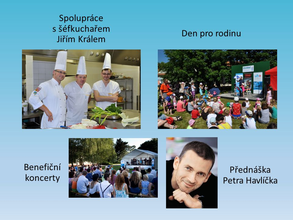Spolupráce s šéfkuchařem Jiřím Králem Přednáška Petra Havlíčka Den pro rodinu Benefiční koncerty