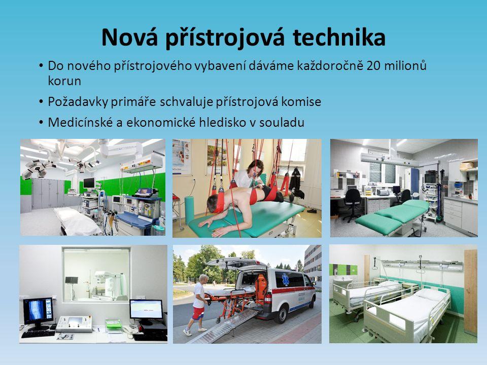 Nová přístrojová technika Do nového přístrojového vybavení dáváme každoročně 20 milionů korun Požadavky primáře schvaluje přístrojová komise Medicínské a ekonomické hledisko v souladu