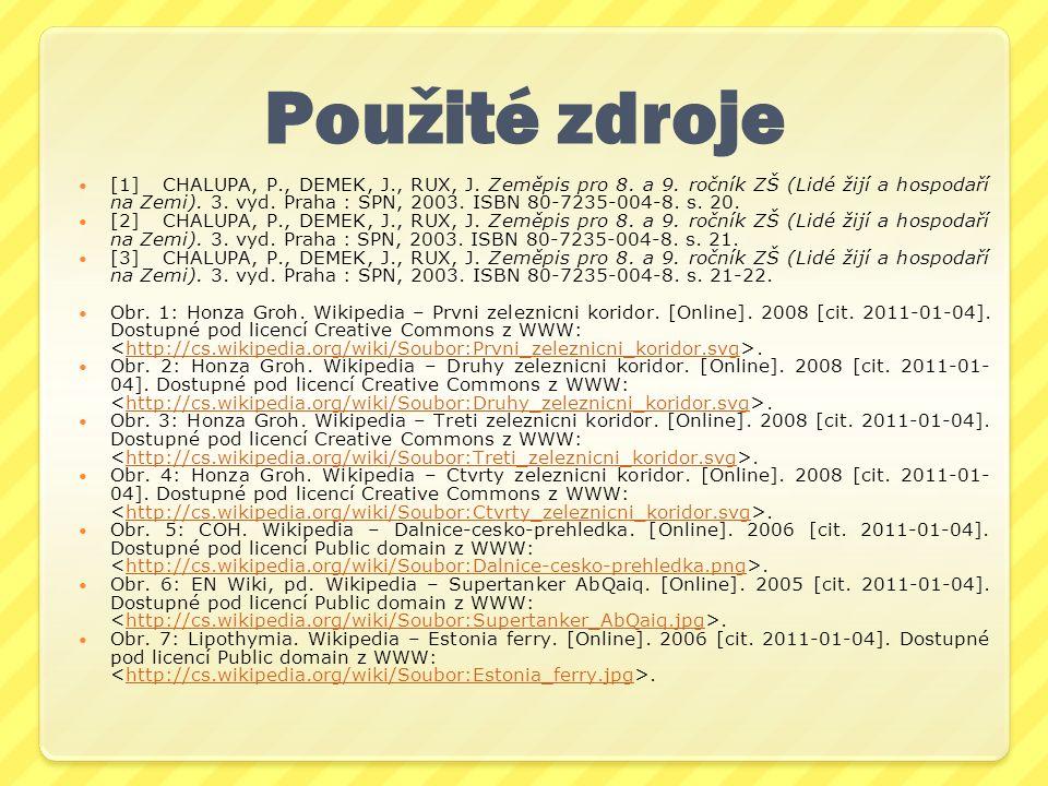 Použité zdroje [1]CHALUPA, P., DEMEK, J., RUX, J. Zeměpis pro 8. a 9. ročník ZŠ (Lidé žijí a hospodaří na Zemi). 3. vyd. Praha : SPN, 2003. ISBN 80-72