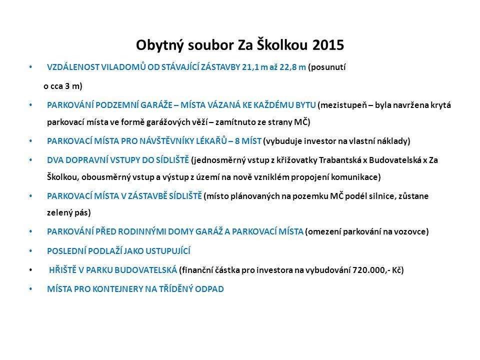 Obytný soubor Za Školkou 2015 VZDÁLENOST VILADOMŮ OD STÁVAJÍCÍ ZÁSTAVBY 21,1 m až 22,8 m (posunutí o cca 3 m) PARKOVÁNÍ PODZEMNÍ GARÁŽE – MÍSTA VÁZANÁ