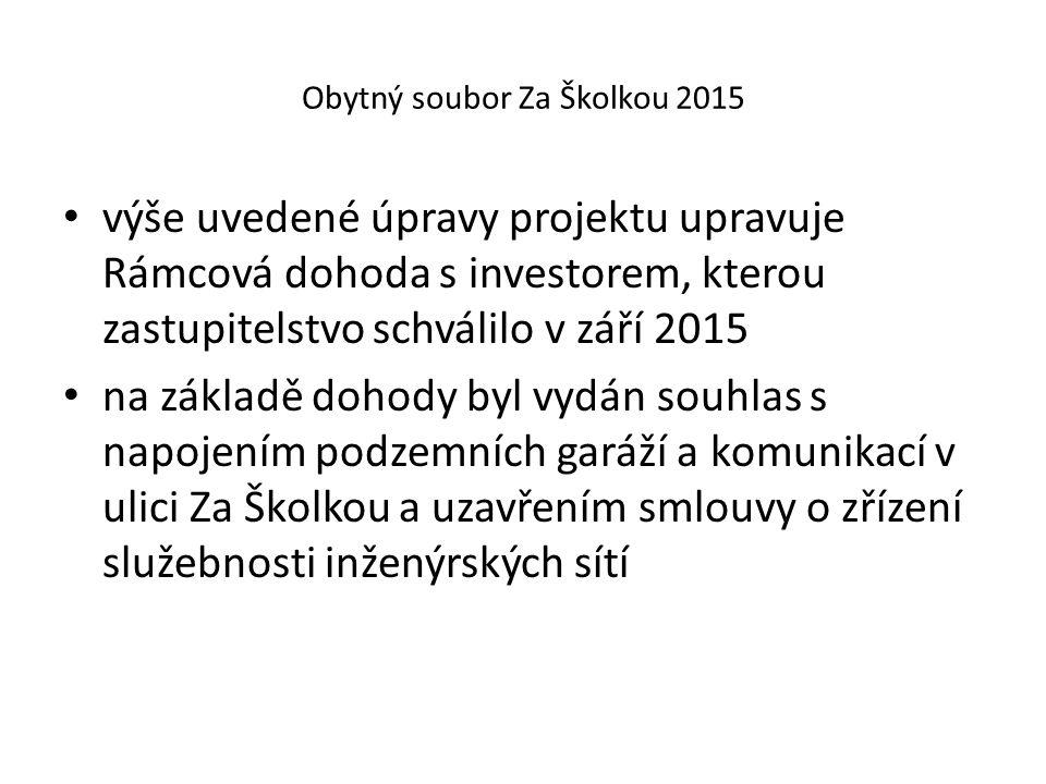 Obytný soubor Za Školkou 2015 výše uvedené úpravy projektu upravuje Rámcová dohoda s investorem, kterou zastupitelstvo schválilo v září 2015 na základ