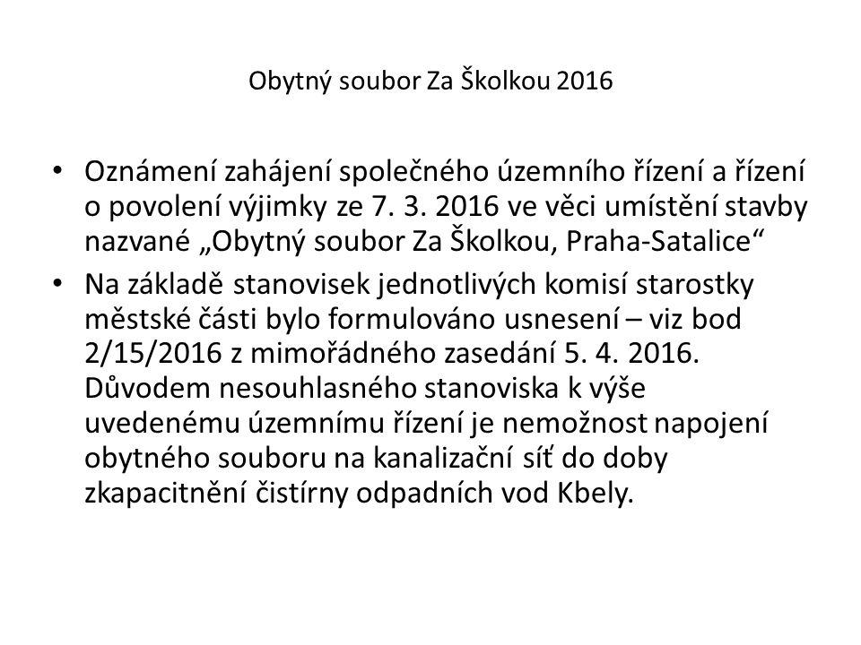 Obytný soubor Za Školkou 2016 Oznámení zahájení společného územního řízení a řízení o povolení výjimky ze 7.