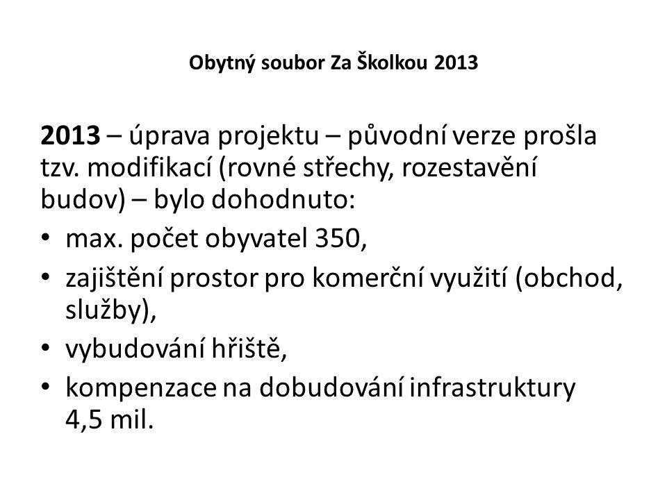 Obytný soubor Za Školkou 2013 2013 – úprava projektu – původní verze prošla tzv.