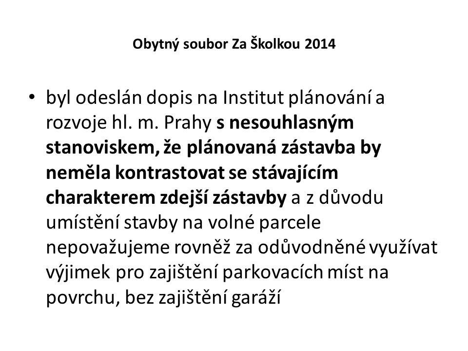 Obytný soubor Za Školkou 2014 byl odeslán dopis na Institut plánování a rozvoje hl. m. Prahy s nesouhlasným stanoviskem, že plánovaná zástavba by nemě