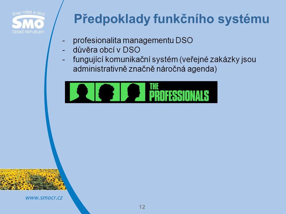 Předpoklady funkčního systému 12 -profesionalita managementu DSO -důvěra obcí v DSO -fungující komunikační systém (veřejné zakázky jsou administrativně značně náročná agenda)