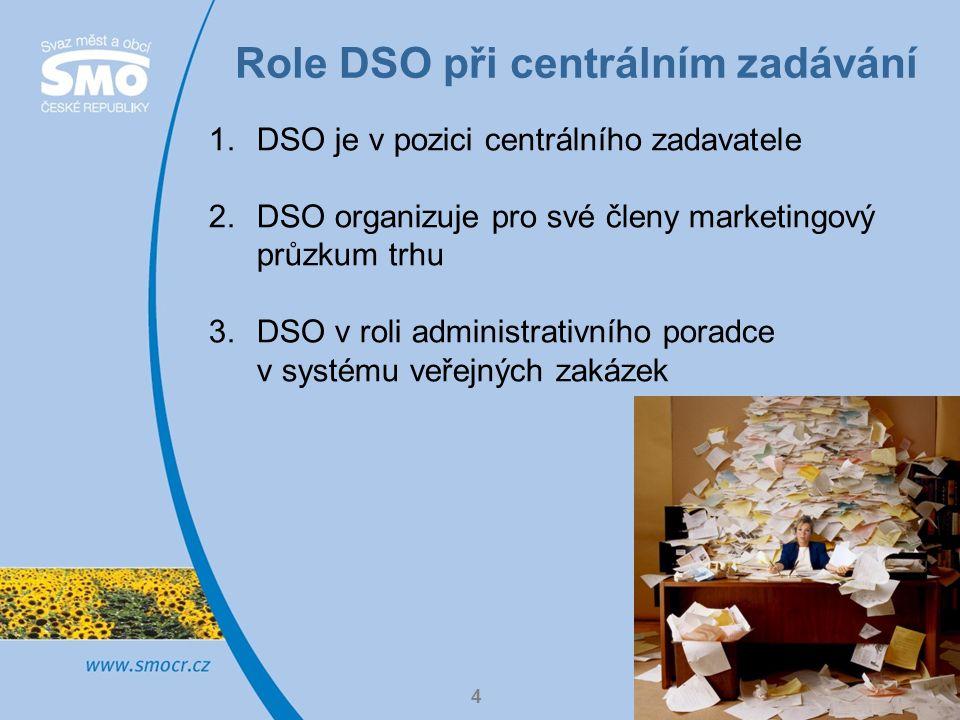 Role DSO při centrálním zadávání 5 1.DSO je v pozici centrálního zadavatele -DSO má zřízen profil veřejného zadavatele a svým jménem zajišťuje veřejnou zakázku pro více subjektů -zapojené subjekty mají uzavřenou příslušnou smlouvu s DSO a musí respektovat výsledky výběrového řízení -v praxi se setkáváme například u nákupu většího objemu služby či dodávky: elektrická energie, zemní plyn, opravy obecního majetku (komunikace, veřejné osvětlení, výsadby zeleně apod.) -modifikace: DSO je sám realizátorem společného projektu, zahrnující více obcí (často je DSO také příjemcem nějaké dotace), například výsadby zeleně, nákupy nádob na tříděný odpad, nákup komunální techniky apod.