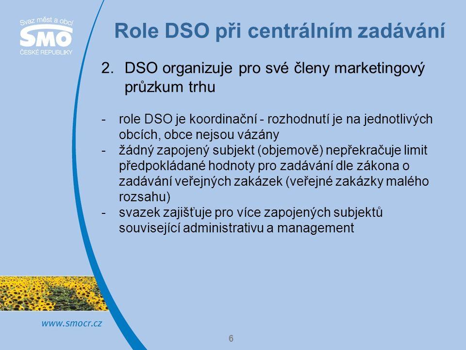 Role DSO při centrálním zadávání 7 3.DSO v roli administrativního poradce v systému veřejných zakázek -DSO často svým členům pomáhají s administrací veřejných zakázek – příprava zadávací dokumentace, příprava podkladů pro posuzování a hodnocení hodnotitelskou komisí, zjištění zveřejňovací povinnosti, správa profilů veřejného zadavatele apod.