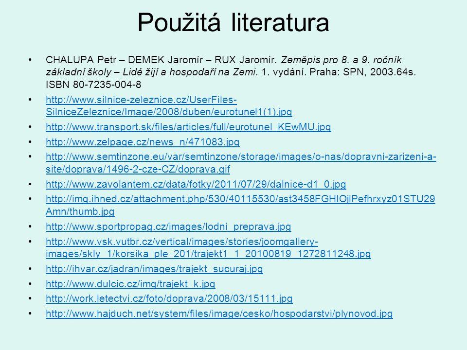 Použitá literatura CHALUPA Petr – DEMEK Jaromír – RUX Jaromír. Zeměpis pro 8. a 9. ročník základní školy – Lidé žijí a hospodaří na Zemi. 1. vydání. P