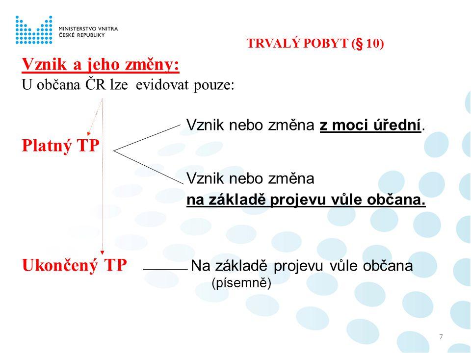 8 Místo TP dítěte – občana ČR v době jeho narození: je místo TP jeho matky, pokud se rodiče nedohodnou jinak (§ 10 odst.