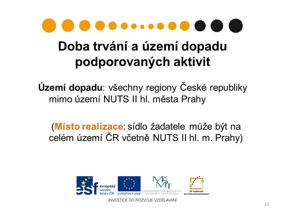 Doba trvání a území dopadu podporovaných aktivit Území dopadu: všechny regiony České republiky mimo území NUTS II hl. města Prahy (Místo realizace: sí