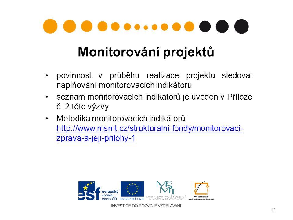 Monitorování projektů povinnost v průběhu realizace projektu sledovat naplňování monitorovacích indikátorů seznam monitorovacích indikátorů je uveden