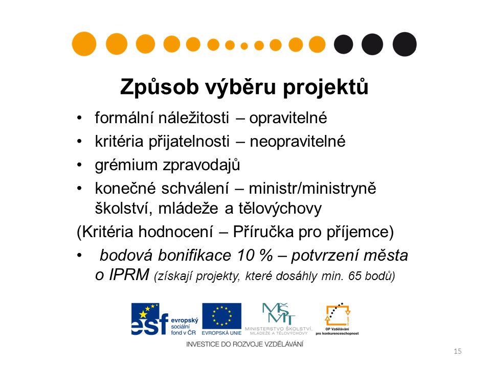 Způsob výběru projektů formální náležitosti – opravitelné kritéria přijatelnosti – neopravitelné grémium zpravodajů konečné schválení – ministr/minist