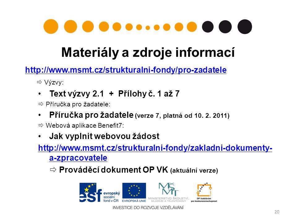 Materiály a zdroje informací http://www.msmt.cz/strukturalni-fondy/pro-zadatele  Výzvy: Text výzvy 2.1 + Přílohy č. 1 až 7  Příručka pro žadatele: P