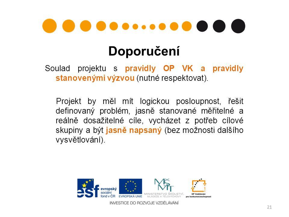 Doporučení Soulad projektu s pravidly OP VK a pravidly stanovenými výzvou (nutné respektovat). Projekt by měl mít logickou posloupnost, řešit definova