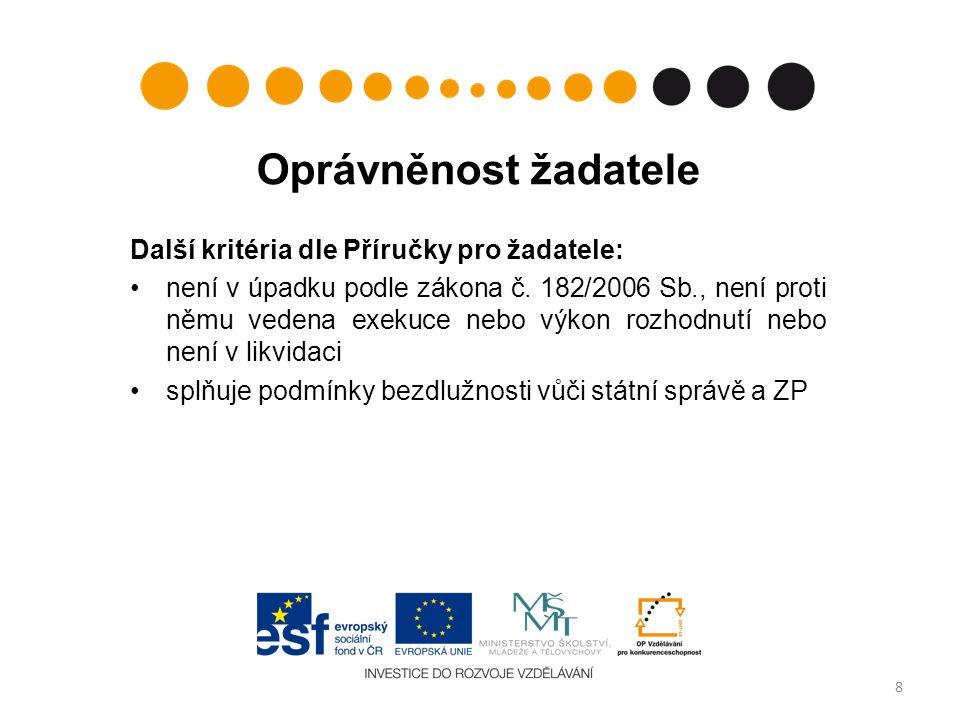 Cílové skupiny studenti VOŠ pedagogičtí pracovníci VOŠ; včetně odborníků z praxe, kteří působí na VOŠ  kteří studují nebo pracují v regionech ČR mimo území NUTS II hl.
