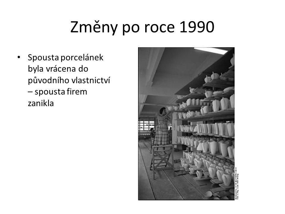 Změny po roce 1990 Spousta porcelánek byla vrácena do původního vlastnictví – spousta firem zanikla