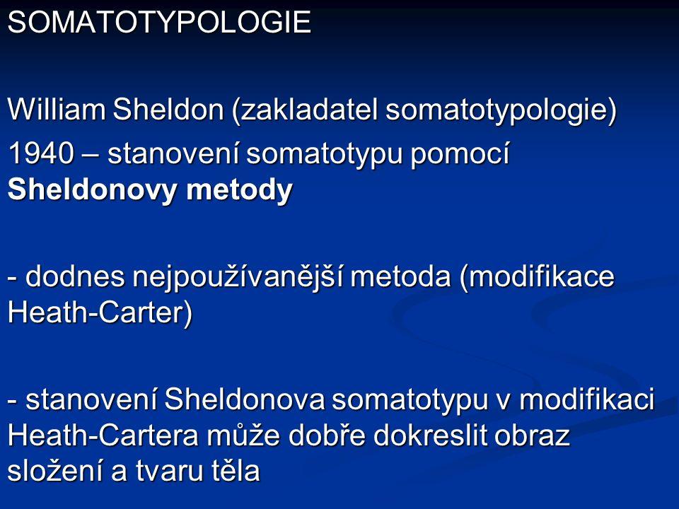 SOMATOTYPOLOGIE William Sheldon (zakladatel somatotypologie) 1940 – stanovení somatotypu pomocí Sheldonovy metody - dodnes nejpoužívanější metoda (modifikace Heath-Carter) - stanovení Sheldonova somatotypu v modifikaci Heath-Cartera může dobře dokreslit obraz složení a tvaru těla
