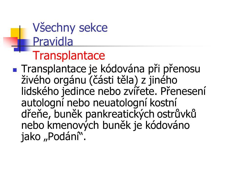 Všechny sekce Pravidla Transplantace Transplantace je kódována při přenosu živého orgánu (části těla) z jiného lidského jedince nebo zvířete.