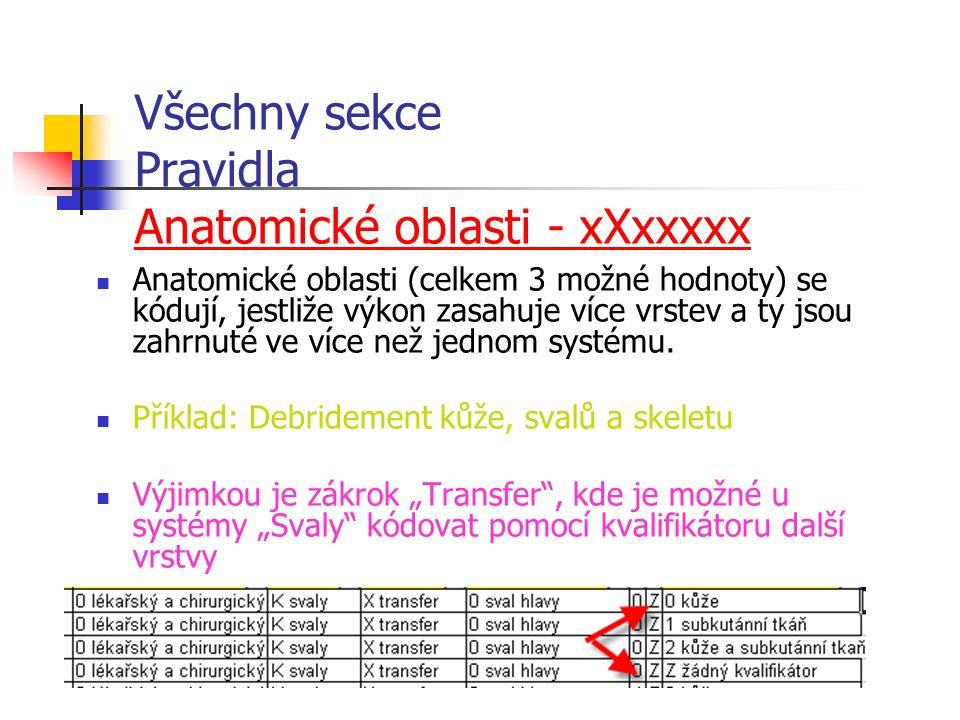 Všechny sekce Pravidla Anatomické oblasti - xXxxxxx Anatomické oblasti (celkem 3 možné hodnoty) se kódují, jestliže výkon zasahuje více vrstev a ty jsou zahrnuté ve více než jednom systému.