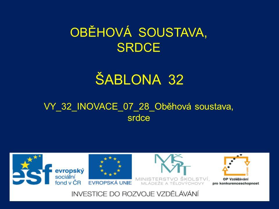 ŠABLONA 32 VY_32_INOVACE_07_28_Oběhová soustava, srdce OBĚHOVÁ SOUSTAVA, SRDCE