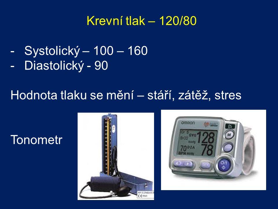 Krevní tlak – 120/80 -Systolický – 100 – 160 -Diastolický - 90 Hodnota tlaku se mění – stáří, zátěž, stres Tonometr