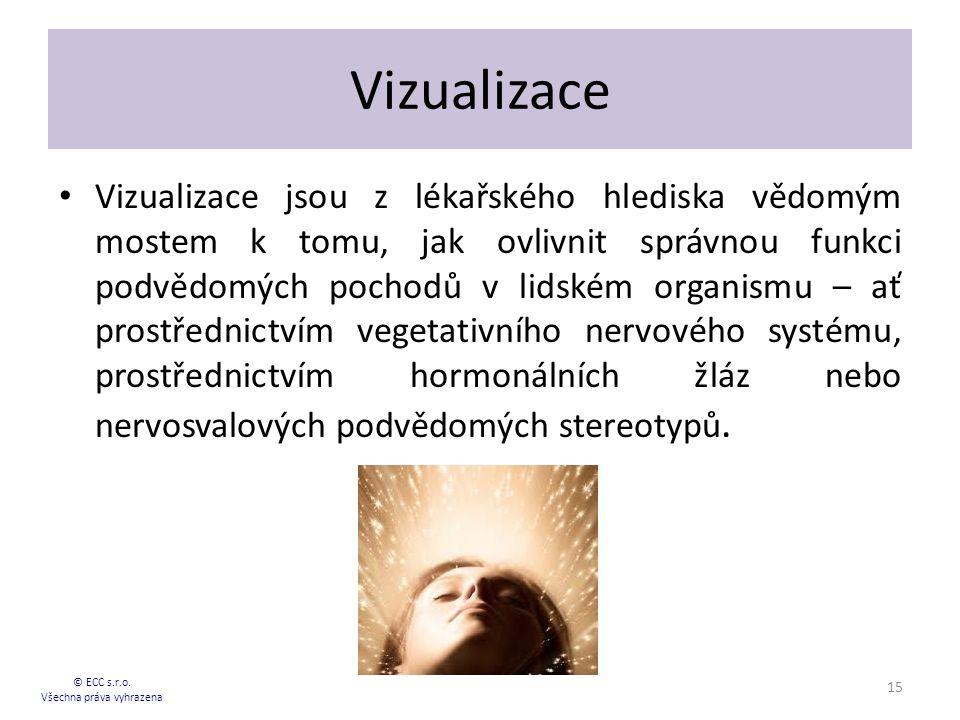 Vizualizace Vizualizace jsou z lékařského hlediska vědomým mostem k tomu, jak ovlivnit správnou funkci podvědomých pochodů v lidském organismu – ať prostřednictvím vegetativního nervového systému, prostřednictvím hormonálních žláz nebo nervosvalových podvědomých stereotypů.