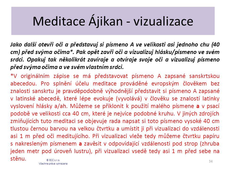 Meditace Ájikan - vizualizace Jako další otevři oči a představuj si písmeno A ve velikosti asi jednoho chu (40 cm) před svýma očima*.