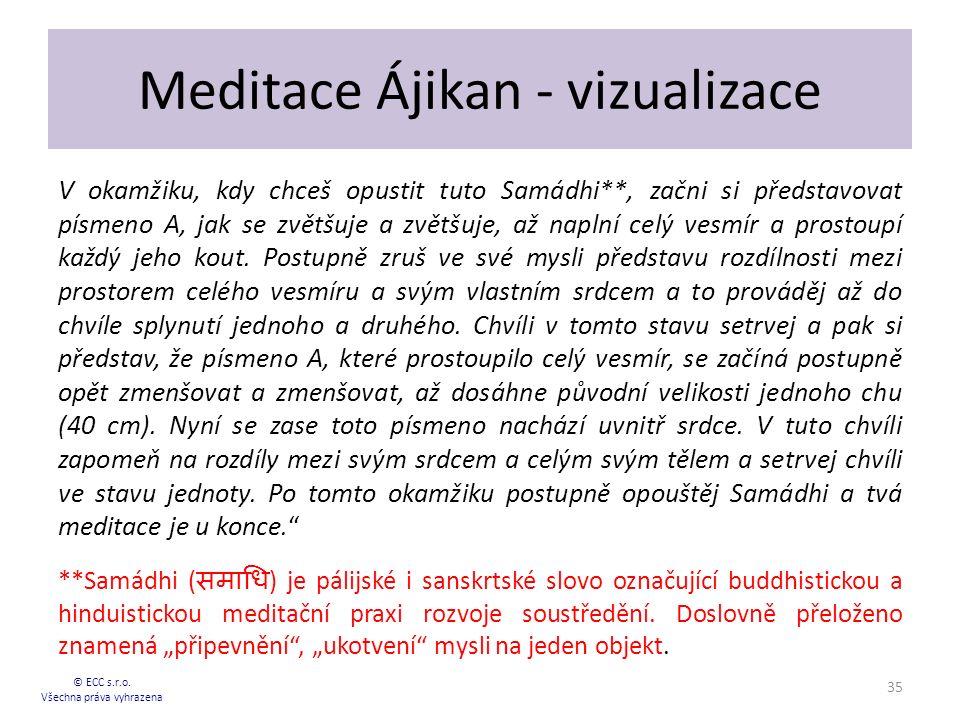 Meditace Ájikan - vizualizace V okamžiku, kdy chceš opustit tuto Samádhi**, začni si představovat písmeno A, jak se zvětšuje a zvětšuje, až naplní celý vesmír a prostoupí každý jeho kout.