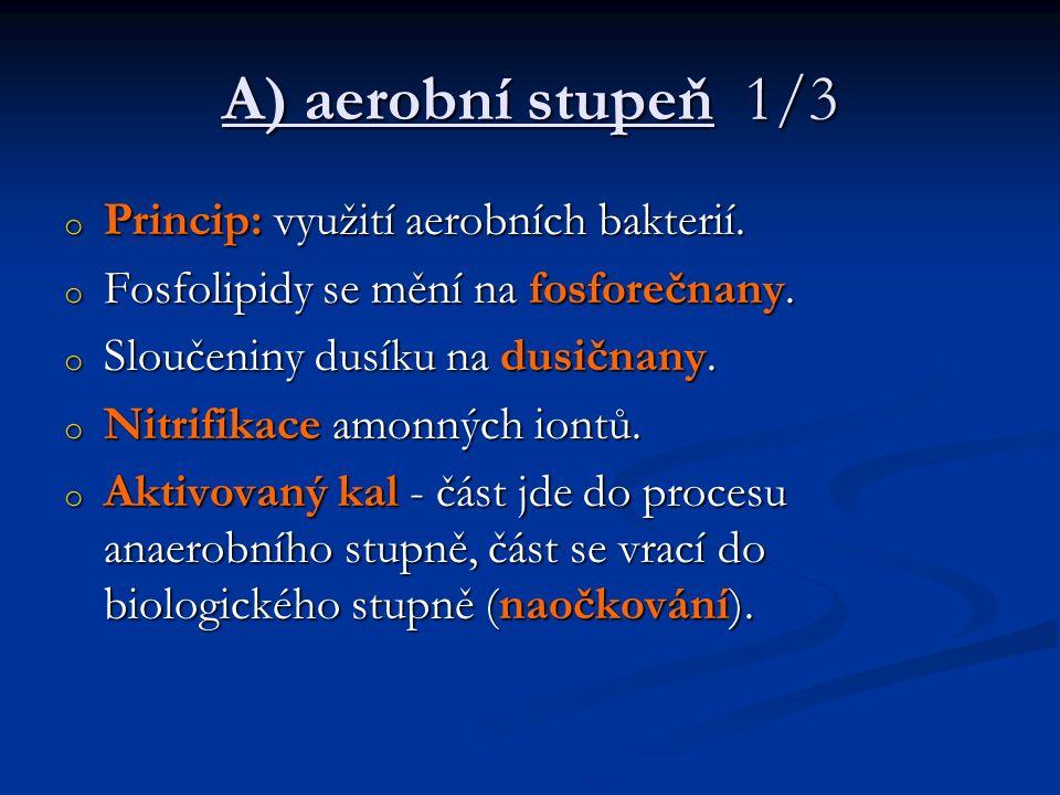A) aerobní stupeň 1/3 o Princip: využití aerobních bakterií. o Fosfolipidy se mění na fosforečnany. o Sloučeniny dusíku na dusičnany. o Nitrifikace am