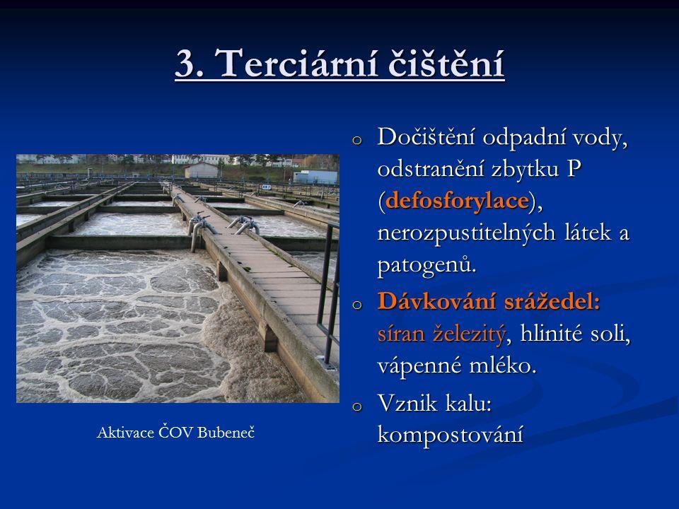 3. Terciární čištění o Dočištění odpadní vody, odstranění zbytku P (defosforylace), nerozpustitelných látek a patogenů. o Dávkování srážedel: síran že