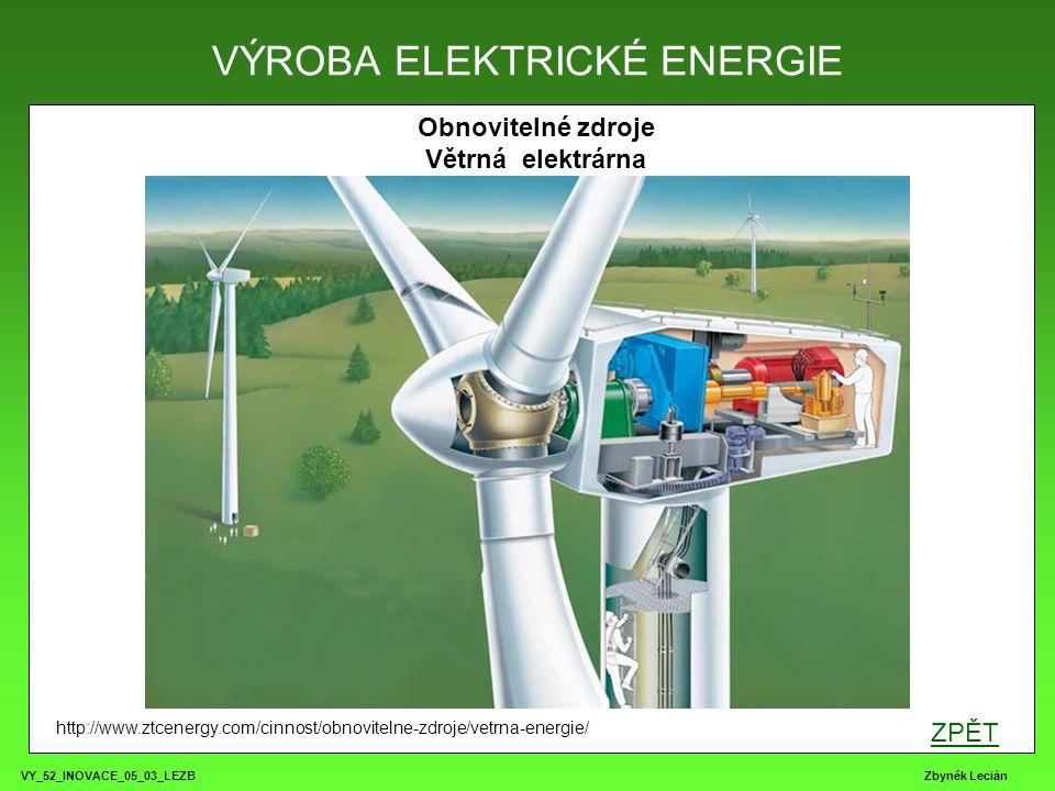 VY_52_INOVACE_05_03_LEZB Zbyněk Lecián Obnovitelné zdroje Větrná elektrárna VÝROBA ELEKTRICKÉ ENERGIE http://www.ztcenergy.com/cinnost/obnovitelne-zdr