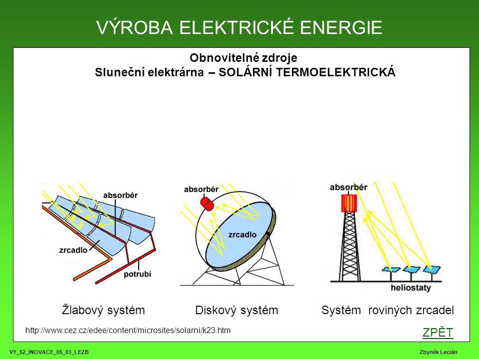 VY_52_INOVACE_05_03_LEZB Zbyněk Lecián Obnovitelné zdroje Sluneční elektrárna – SOLÁRNÍ TERMOELEKTRICKÁ VÝROBA ELEKTRICKÉ ENERGIE http://www.cez.cz/ed