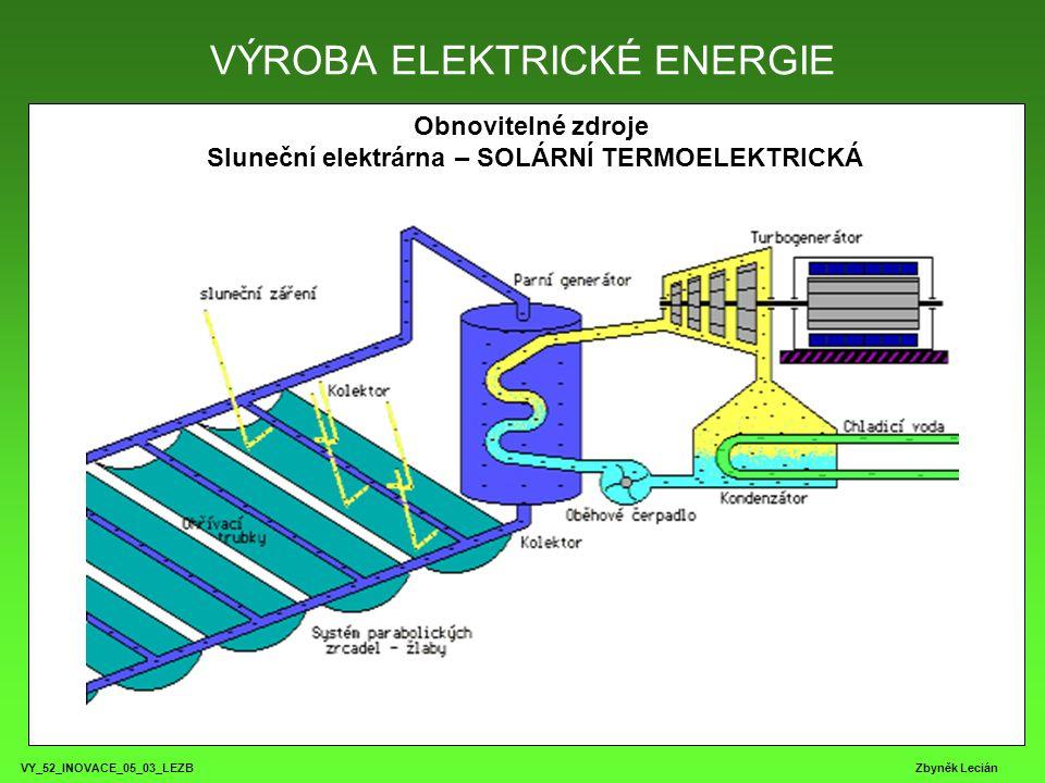 VY_52_INOVACE_05_03_LEZB Zbyněk Lecián Obnovitelné zdroje Sluneční elektrárna – SOLÁRNÍ TERMOELEKTRICKÁ VÝROBA ELEKTRICKÉ ENERGIE